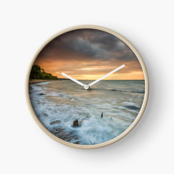 Woodside Beach Surf Sunset Isle Of Wight Clock