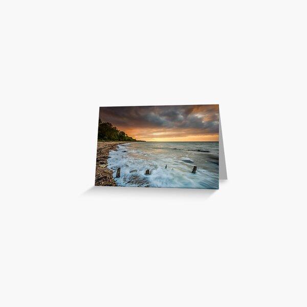 Woodside Beach Surf Sunset Isle Of Wight Greeting Card