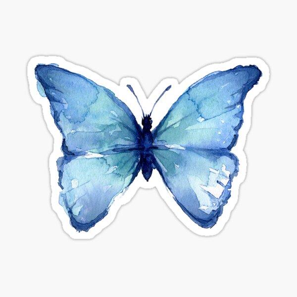 Blue Watercolor Butterfly Sticker