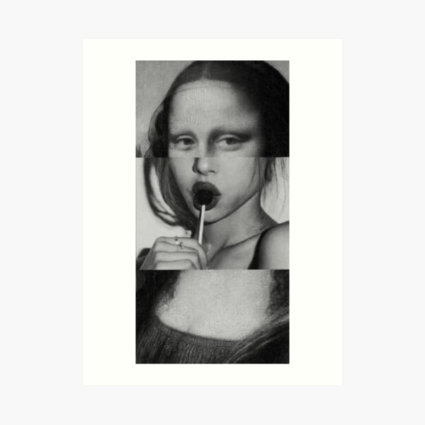 naughty mona lisa vaporwave Art Print