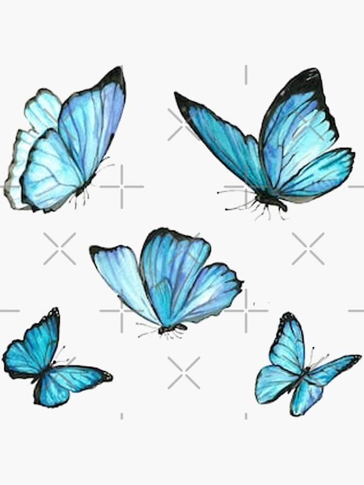 Blue Watercolor Butterflies by Leilasayan