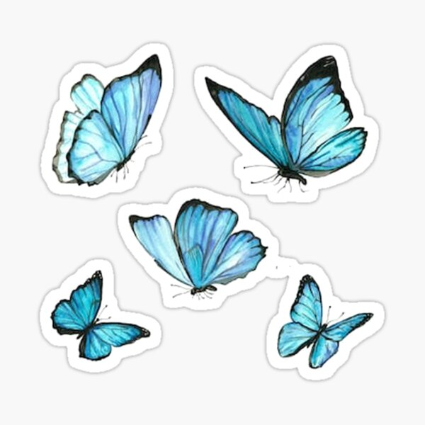 Blue Watercolor Butterflies Sticker