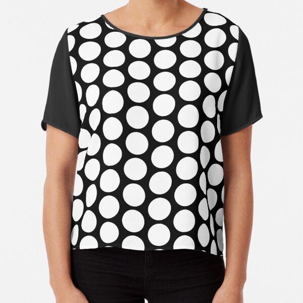 White Dot Black Background Chiffon Top