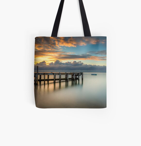 Woodside Jetty Sunset Isle Of Wight All Over Print Tote Bag