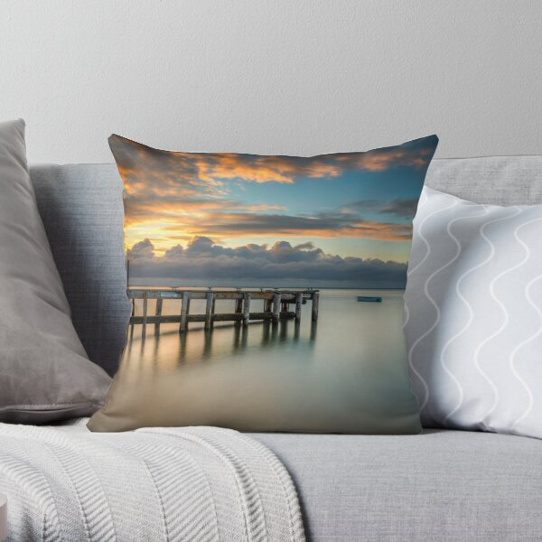 Woodside Jetty Sunset Isle Of Wight Throw Pillow