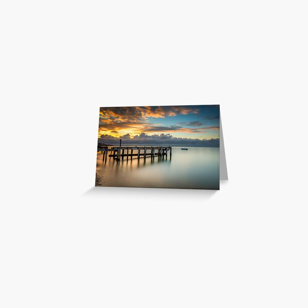 Woodside Jetty Sunset Isle Of Wight Greeting Card