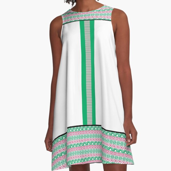 Kente Homage in Pink and Green by HeavenNezCree A-Line Dress