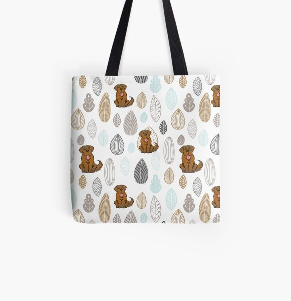 Brown Newfie Pattern All Over Print Tote Bag