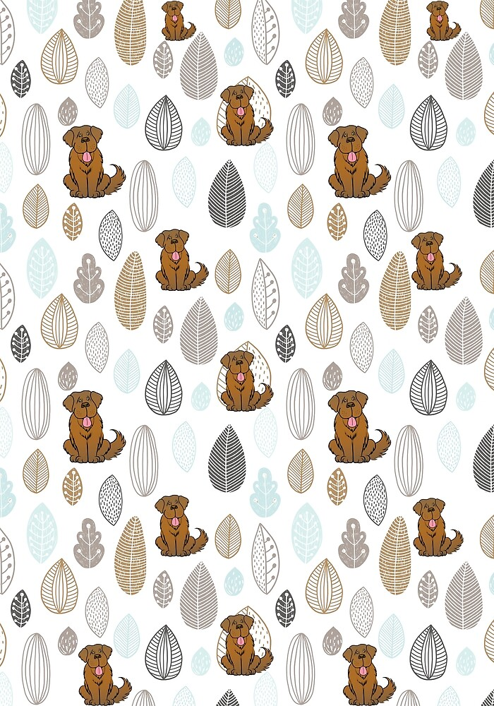 Brown Newfie Pattern by Christine Mullis