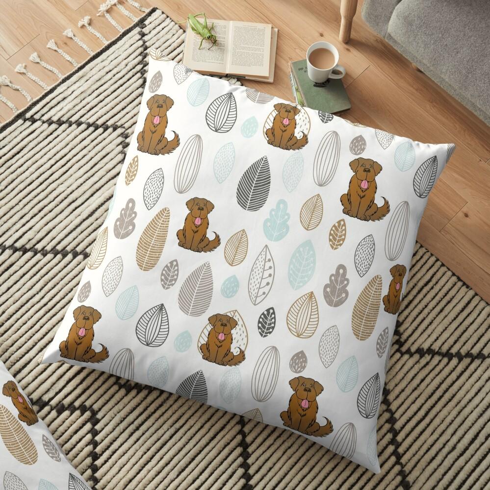 Brown Newfie Pattern Floor Pillow