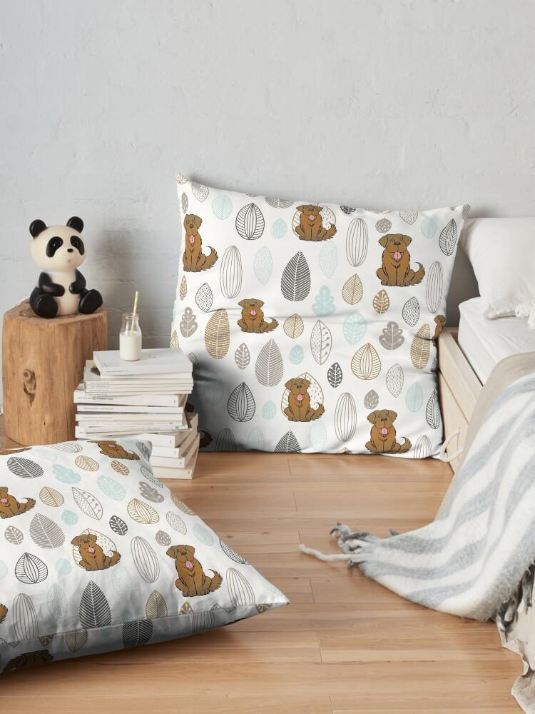 Alternate view of Brown Newfie Pattern Floor Pillow