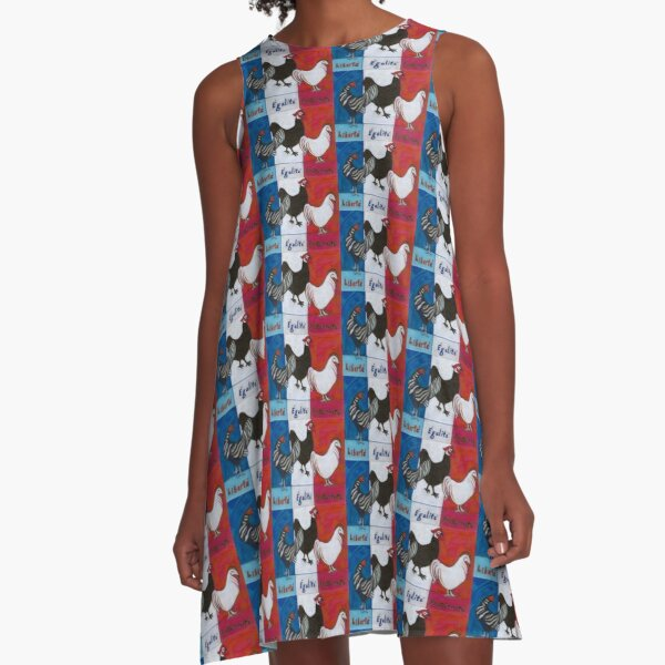 Three French Hens A-Line Dress