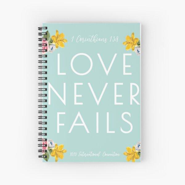 Love Never Fails - Mint  Spiral Notebook