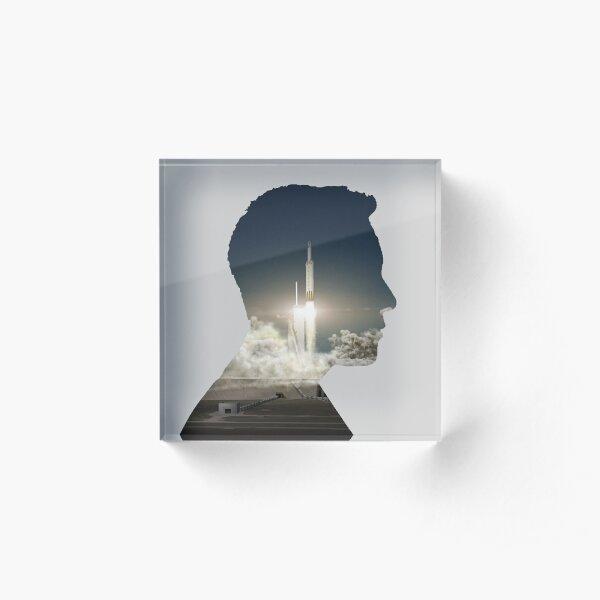 Elon Musk Launch Silhouette Acrylic Block