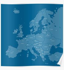 Europe map in blue Poster