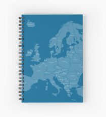Europe map in blue Spiral Notebook