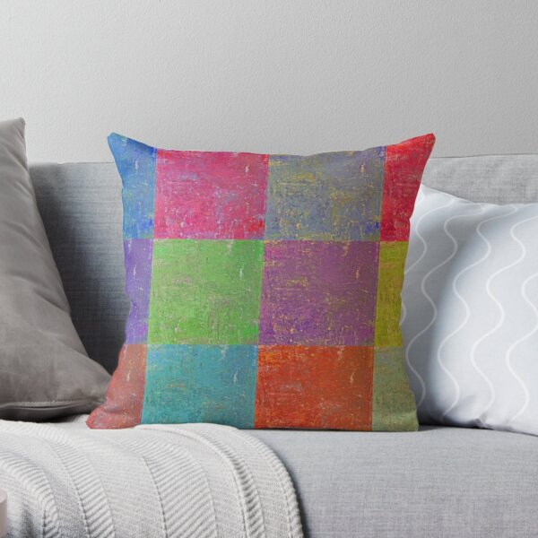 Multi Colored Squares Abstract Throw Pillow