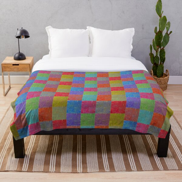 Multi Colored Squares Abstract Throw Blanket
