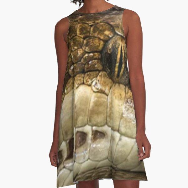 #Snake, #reptile, #python, #animal, scale, viper, nature, rattlesnake, zoology, herpetology, danger A-Line Dress