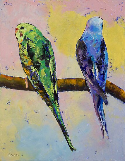 Green and Violet Budgies by Michael Creese