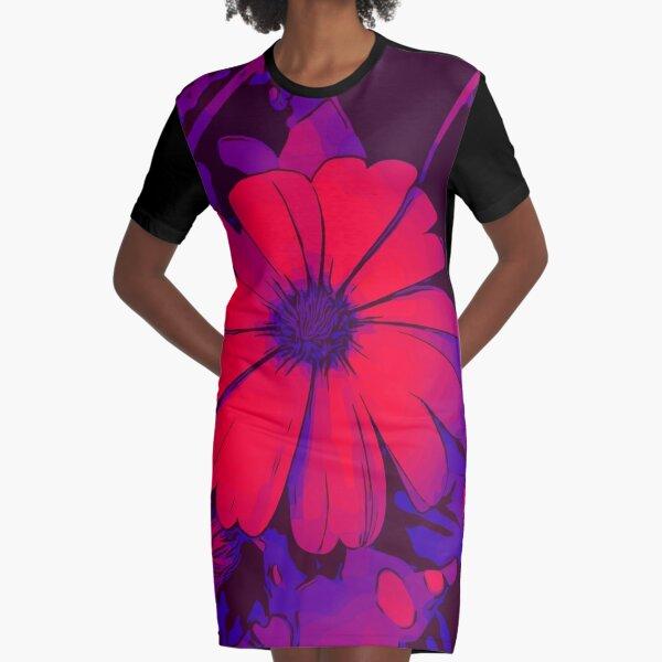 Rot-lila Blumenmotiv WelikeFlowers T-Shirt Kleid