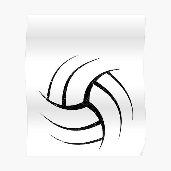 Cute White Graphic Art Volleyball  Poster