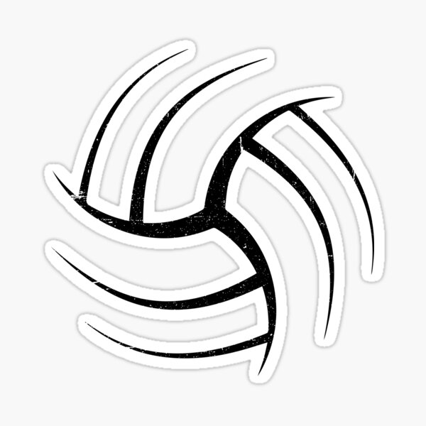 Cute White Graphic Art Volleyball  Sticker