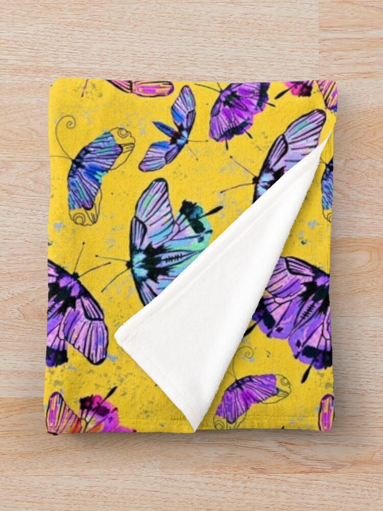 Alternate view of purple and pink watercolour butterflies Throw Blanket