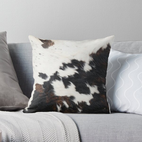 Cowhide Detail Throw Pillow