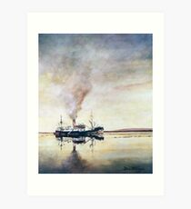 Calm day off West Falkland; The old coastal steamer Art Print