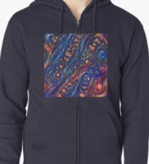 Fire and Water motif Zipped Hoodie