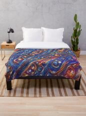 Fire and Water motif Throw Blanket