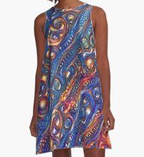 Fire and Water motif A-Line Dress