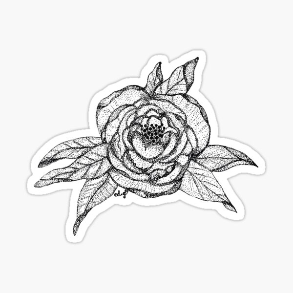Point par point, jolie pivoine Sticker