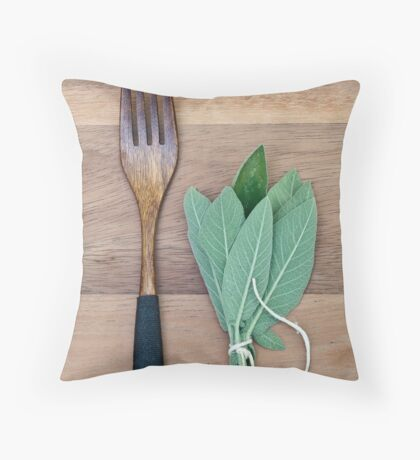 Fork and Sage Throw Pillow