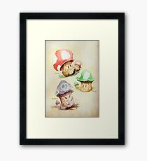 Mario Mushrooms Botanical Illustration Framed Print