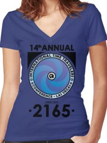 The Time Traveler's Conference 2165 Women's Fitted V-Neck T-Shirt