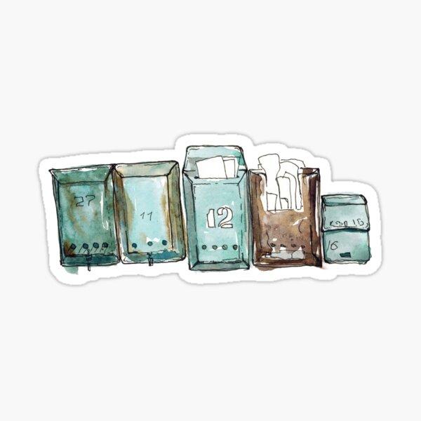 Gezeichnete Skizzenillustration des Aquarells Hand mit Briefkästen auf der Wand lokalisiert auf Weiß Sticker