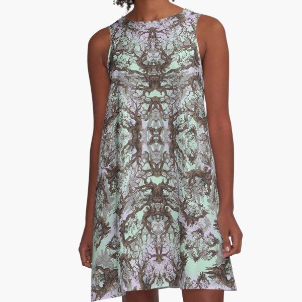ANCIENT PINE SNAG MANDALA A-Line Dress