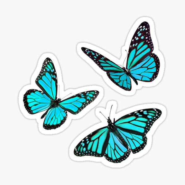 monarch butterfly sticker pack blue Sticker