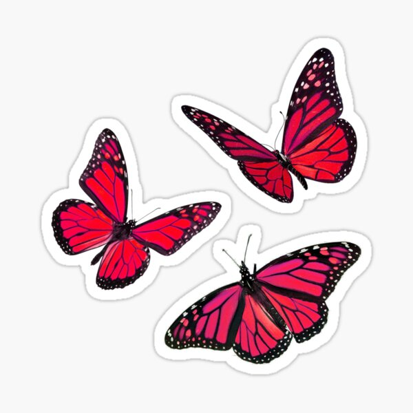 monarch butterfly sticker pack red Sticker