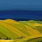 Grassy Hills and Blue Sky Landscape by Eliza Donovan