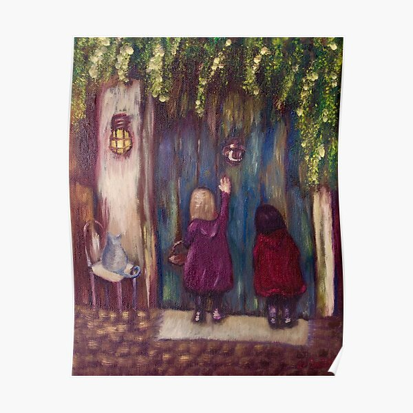 Visiting Grandma (oil on Canvas) Poster