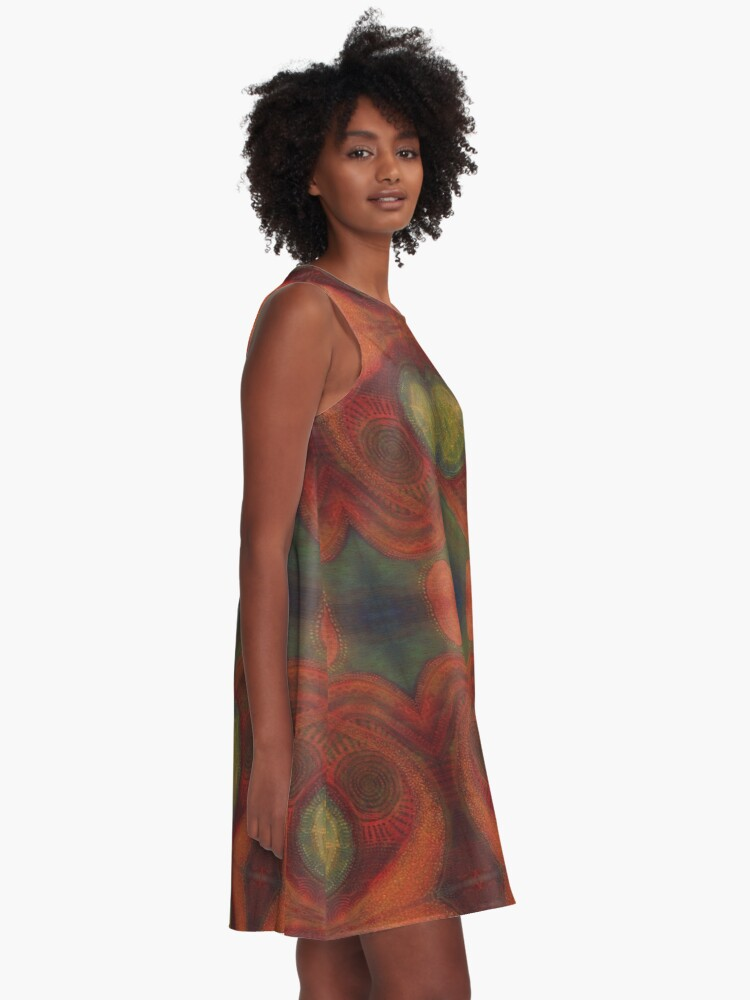 Alternate view of #Abstract, #pattern, #art, #decoration, design, shape, creativity, element, curve, illustration A-Line Dress