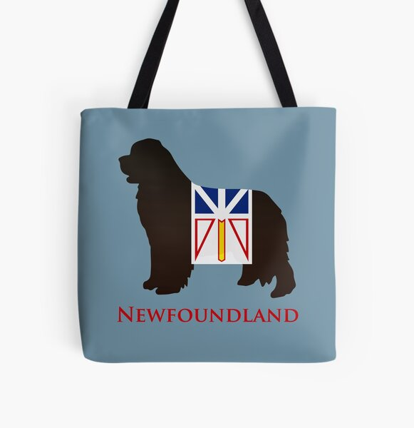 Newfoundland Dog sporting the Newfoundland flag! All Over Print Tote Bag
