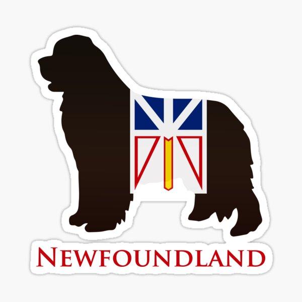 Newfoundland Dog sporting the Newfoundland flag! Sticker