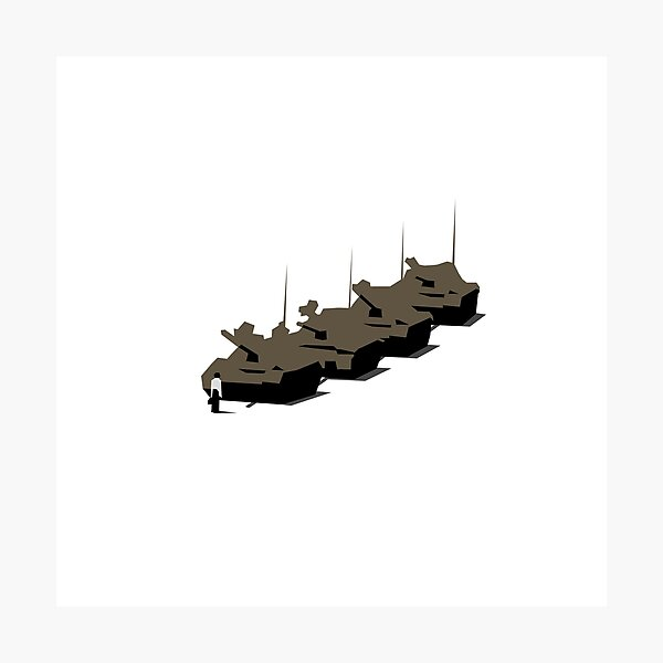 Tank Man Vector Graphic, Tiananmen, CCTV, Obey, Banksy, Occupy, Macro, Global, Protest Photographic Print