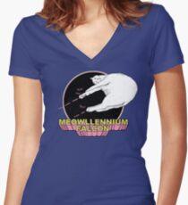 Meowllennium Falcon Women's Fitted V-Neck T-Shirt