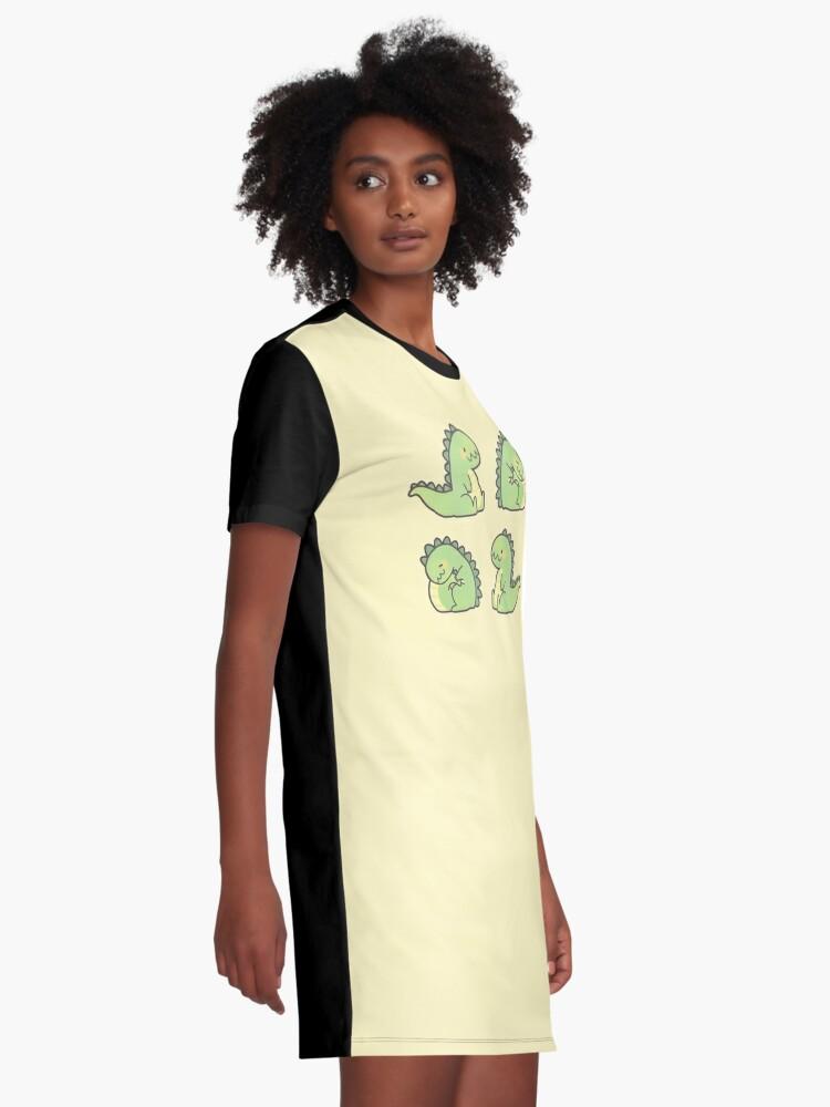 Alternate view of Cute Chubby Sleepy Dragon - Green Graphic T-Shirt Dress