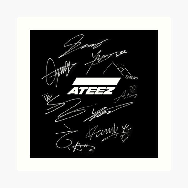 Ateez - logo + firmas - negro Lámina artística